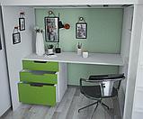 Кровать - чердак Polini Simple с письменным столом и шкафом, цвет белый лайм 00-72569, фото 2