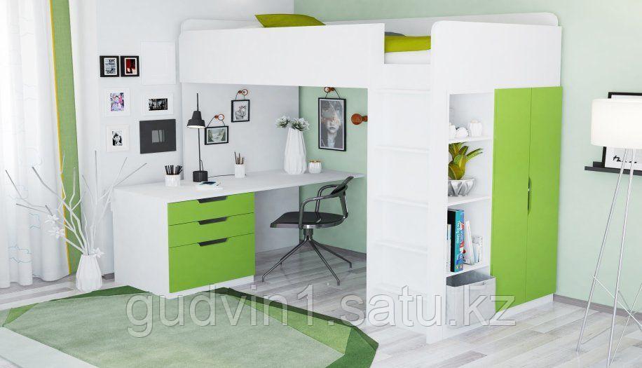 Кровать - чердак Polini Simple с письменным столом и шкафом, цвет белый лайм 00-72569