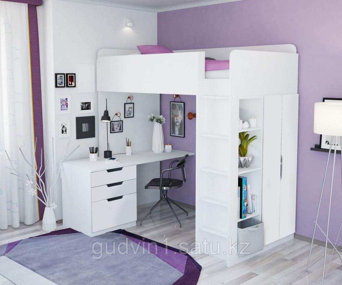 Кровать - чердак Polini Simple с письменным столом и шкафом, цвет белый 00-72568