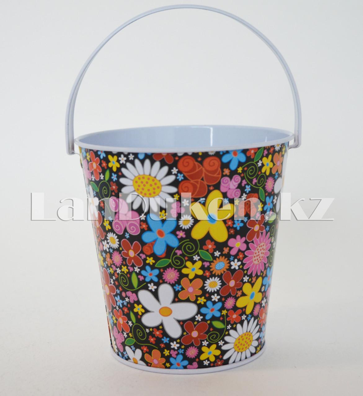 Ведро декоративное металлическое большое (черный с цветочным принтом) - фото 2