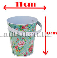 Ведро декоративное металлическое большое (бирюзовый с цветочным принтом)