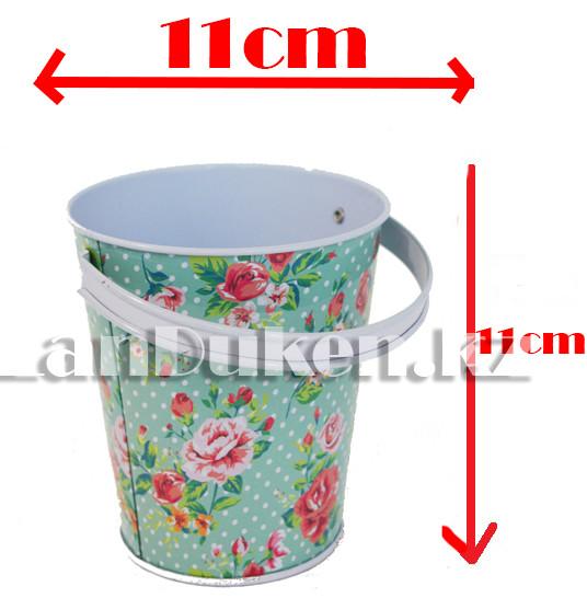 Ведро декоративное металлическое большое (бирюзовый с цветочным принтом) - фото 1