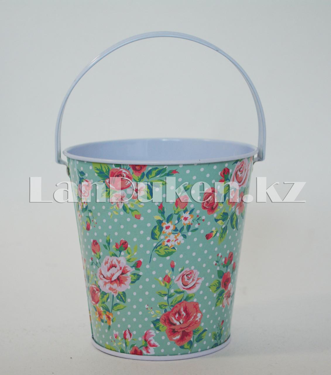 Ведро декоративное металлическое большое (бирюзовый с цветочным принтом) - фото 2