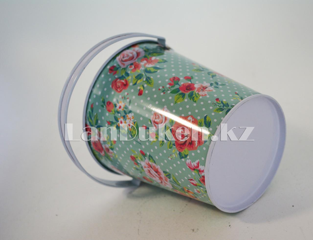 Ведро декоративное металлическое большое (бирюзовый с цветочным принтом) - фото 3