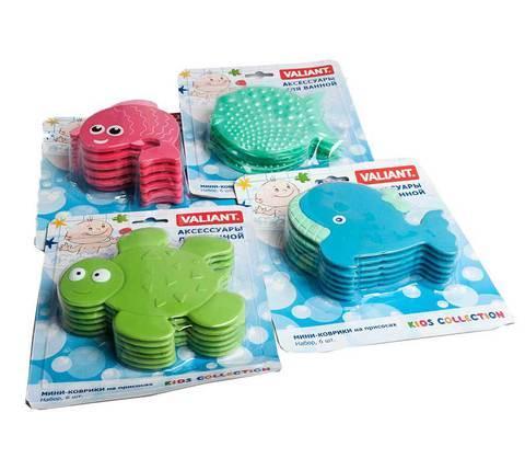 Набор мини-ковриков для ванной комнаты Valiant [6 шт.] (Рыбка)
