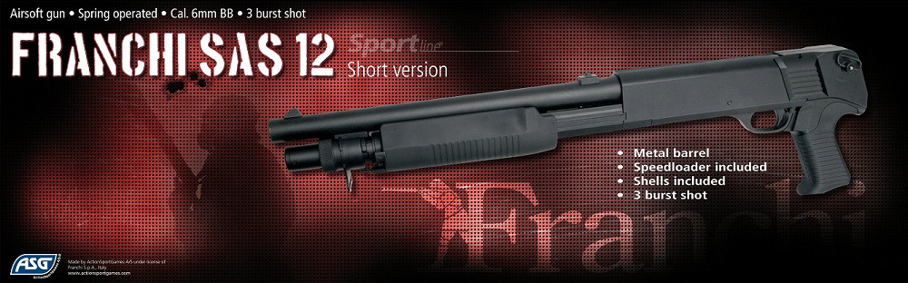 Дробовик для страйкбола ASG Franchi SAS 12 Short, Калибр: 6,0 мм, Дульная энергия: 0,7 Дж, Ёмкость магазина (б