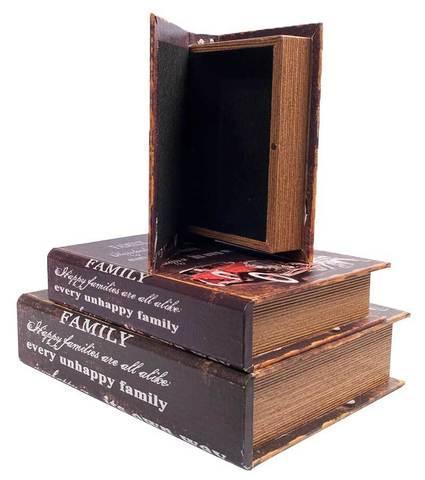 Набор деревянных шкатулок-книг «Фолиант» [комплект из 3 шт.] (Автомобиль)