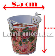 Ведро декоративное металлическое маленькое (розовый с цветочным принтом)