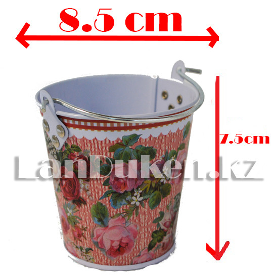 Ведро декоративное металлическое маленькое (розовый с цветочным принтом) - фото 1