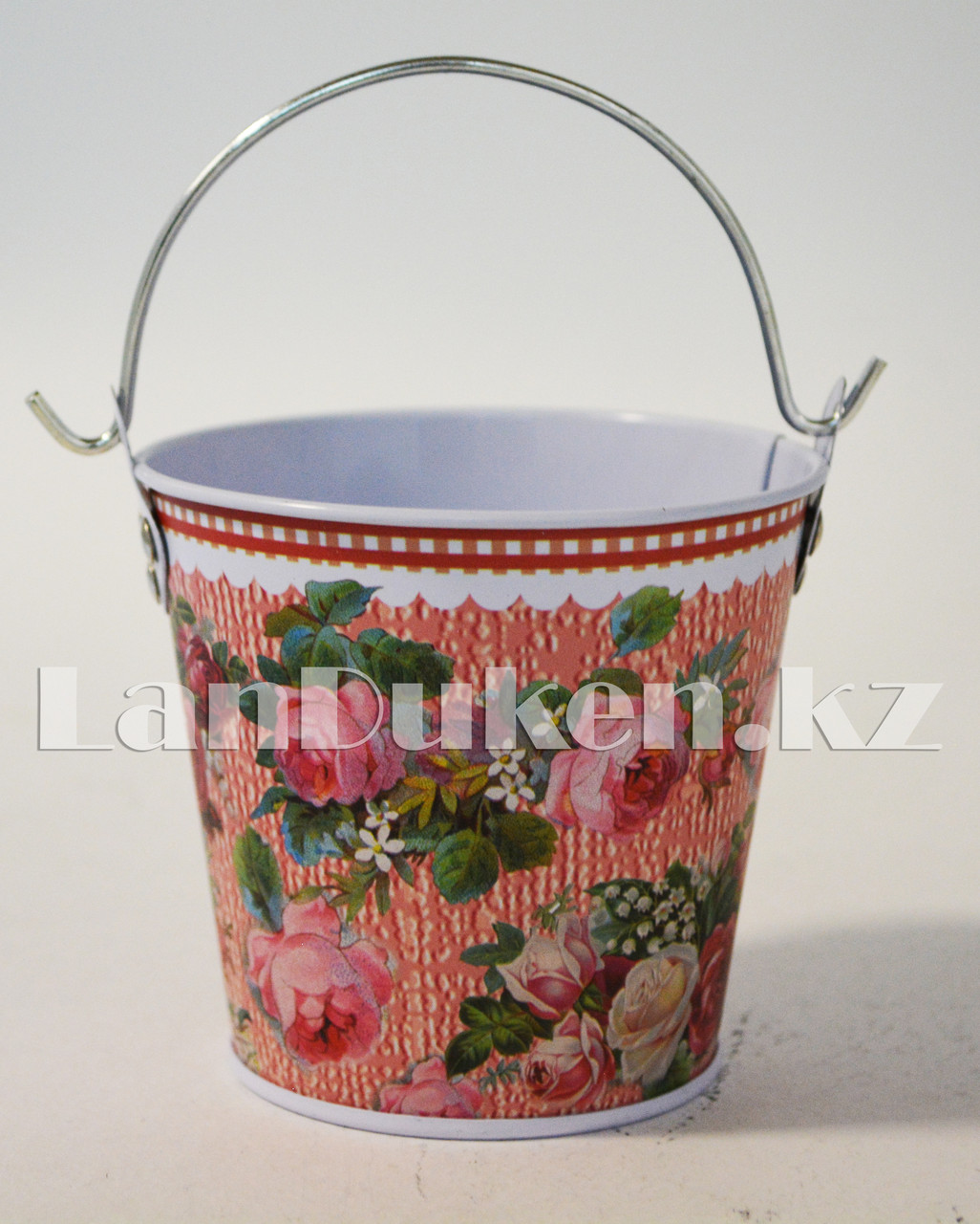Ведро декоративное металлическое маленькое (розовый с цветочным принтом) - фото 2
