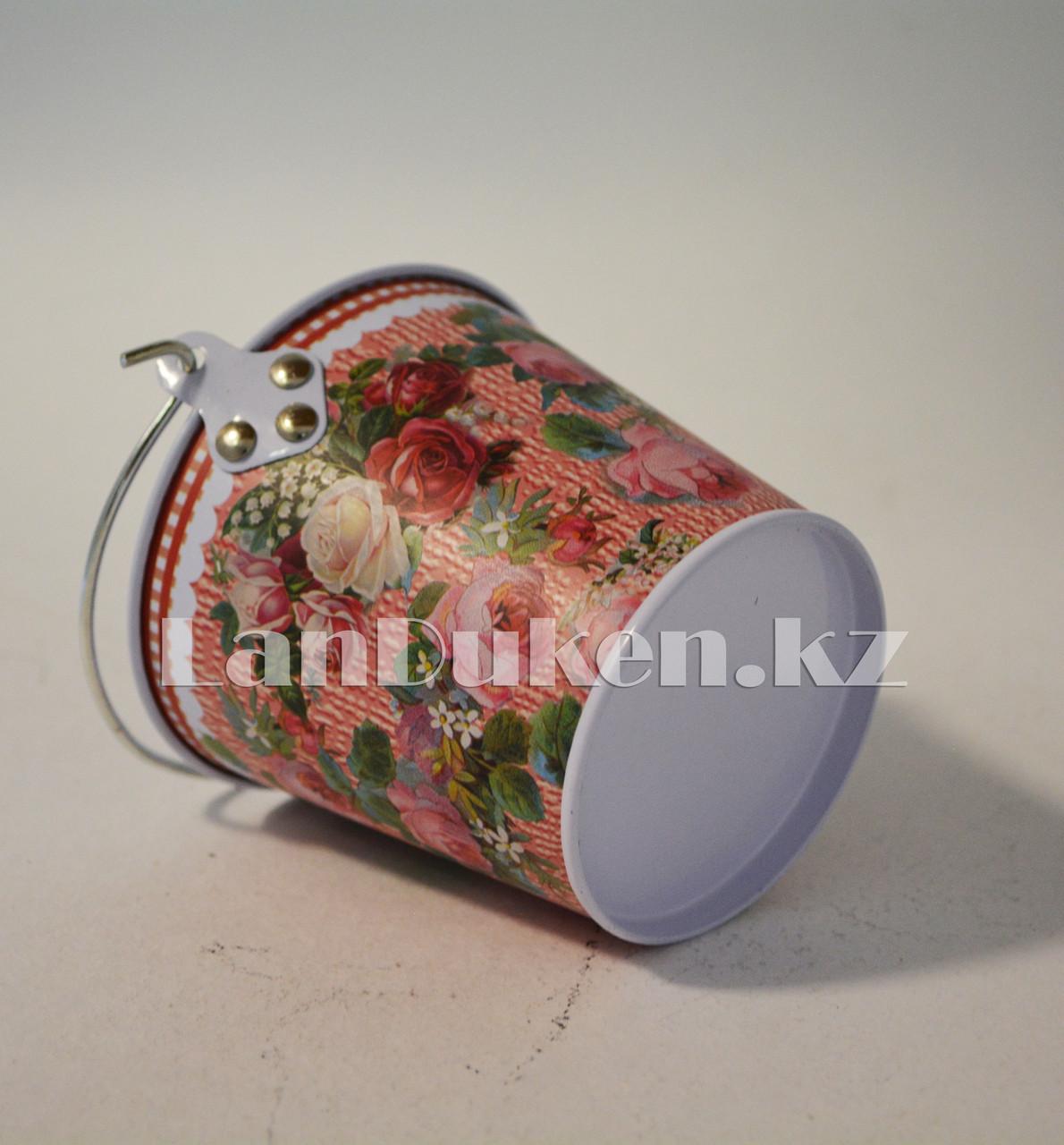 Ведро декоративное металлическое маленькое (розовый с цветочным принтом) - фото 3