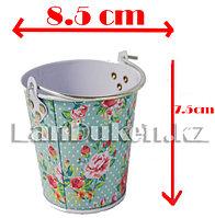 Ведро декоративное металлическое маленькое (бирюзовый с цветочным принтом)