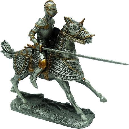 Статуэтка оловянный солдатик Wise Unicorn Рыцарь-крестоносец на коне, Высота: 105 мм, Материал: Оловянный спла