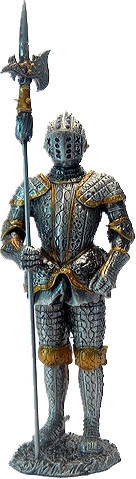 Статуэтка оловянный солдатик Wise Unicorn Рыцарь с алебардой, Высота: 105 мм, Материал: Оловянный сплав, (AT08