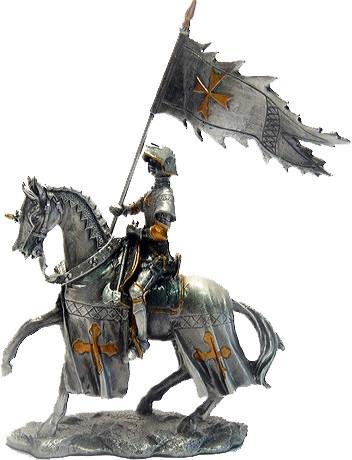 Статуэтка оловянный солдатик Wise Unicorn Рыцарь Конный крестоносец с знаменем, Высота: 110 мм, Материал: Олов