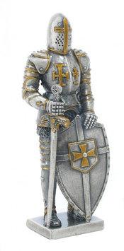 Статуэтка оловянный солдатик Wise Unicorn Рыцарь Крестоносец с мечом, Высота: 105 мм, Материал: Оловянный спла