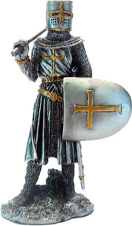 Статуэтка оловянный солдатик Wise Unicorn Рыцарь-крестоносец, Высота: 105 мм, Материал: Оловянный сплав, (AT08