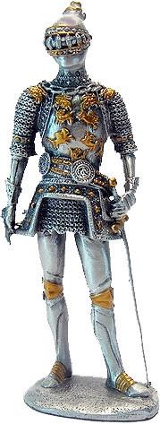 Статуэтка оловянный солдатик Wise Unicorn Рыцарь с мечом, Высота: 105 мм, Материал: Оловянный сплав, (AT08277A
