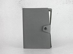 Блокнот из экокожи на клепке. Серый