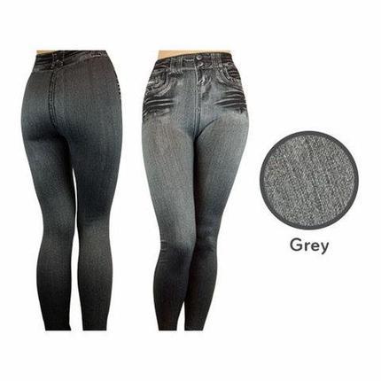 Джеггинсы корректирующие утепленные Slim'nLift Caresse Jeans [серые] (S), фото 2
