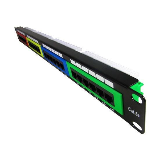 """Патч-панель цветная SHIP P197-24C, Цвет: Разноцветный, Портов: 24 шт., Кат. 5e, Ширина: 19"""""""