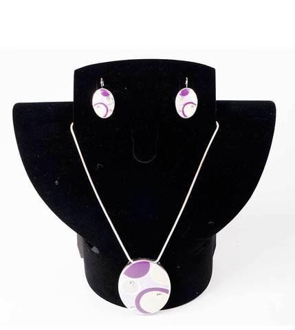 Комплект кулон и серьги Kuku Fashion Circles (Фиолетовый)