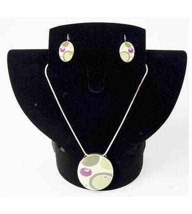 Комплект кулон и серьги Kuku Fashion Circles (Зеленый), фото 2