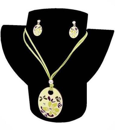 Комплект кулон и серьги Kuku Fashion Flowers (Зеленый), фото 2