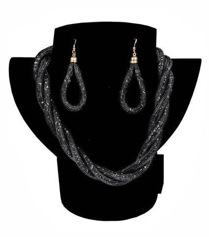 Комплект ожерелье плетенное и серьги «Звездная пыль» (Черный)
