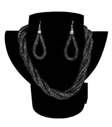 Комплект ожерелье плетенное и серьги «Звездная пыль» (Черный), фото 2