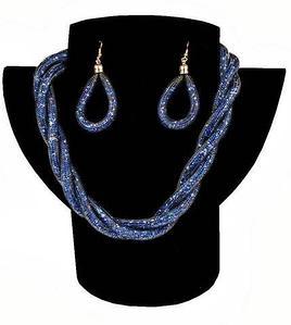 Комплект ожерелье плетенное и серьги «Звездная пыль» (Синий)