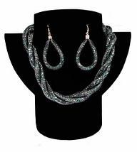 Комплект ожерелье плетенное и серьги «Звездная пыль» (Синий), фото 3