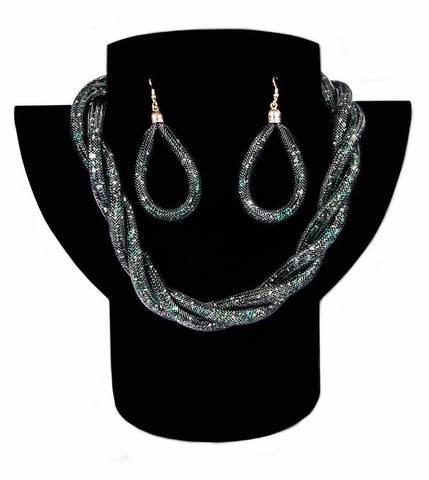 Комплект ожерелье плетенное и серьги «Звездная пыль» (Зеленый)