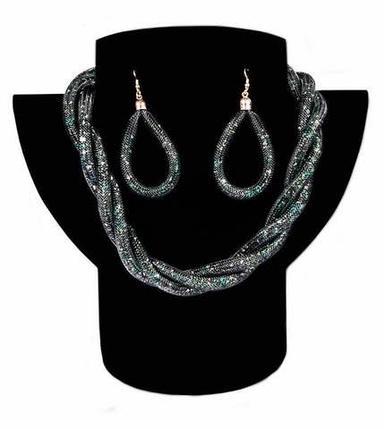 Комплект ожерелье плетенное и серьги «Звездная пыль» (Зеленый), фото 2