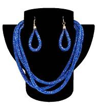 Комплект ожерелье тройное и серьги «Звездная пыль» (Черный), фото 3