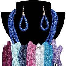 Комплект ожерелье тройное и серьги «Звездная пыль» (Синий), фото 2