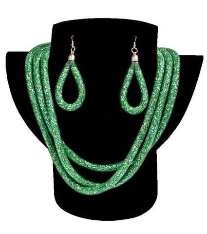 Комплект ожерелье тройное и серьги «Звездная пыль» (Зеленый)
