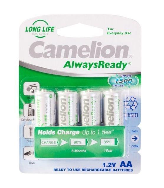 Аккумуляторная батарейка Camelion AA NH-AA1000ARBP4, AlwaysReady перезаряжаемая, 1.2V, 1000 mAh, (4 шт.)