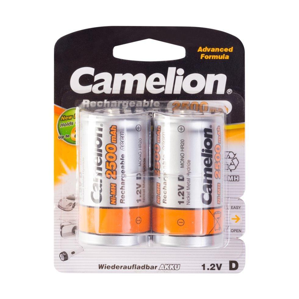 Аккумуляторная батарейка Camelion D NH-D2500BP2, Rechargeable, 1.2V, 2500 mAh (2 шт.)