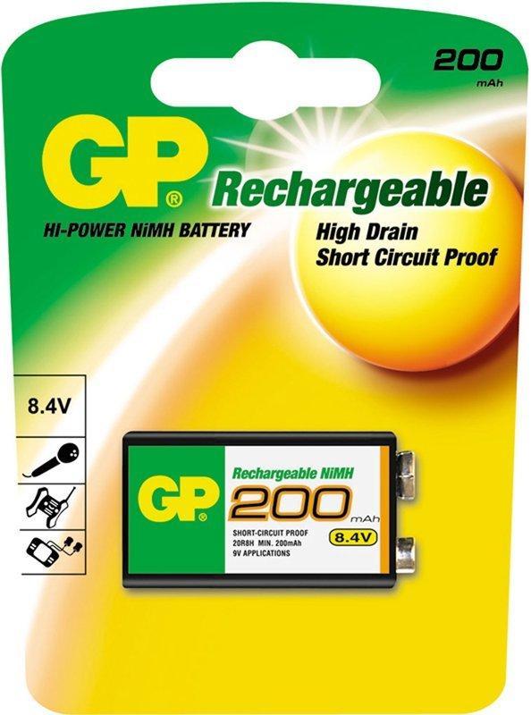 Аккумуляторная батарейка GP 20R8H-BC1 200mAh 8.4V (1 шт.)