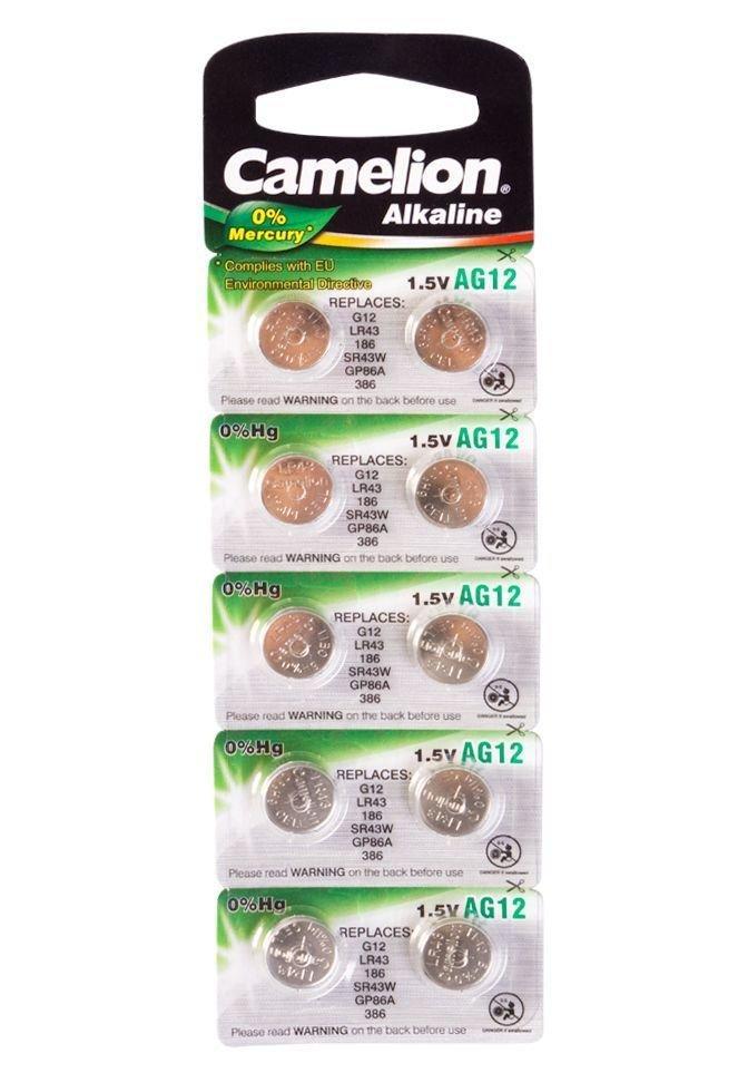 Батарейка Camelion AG12,  Alkaline, 1.5V (10 шт.)