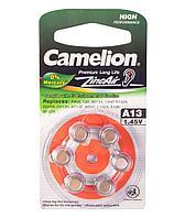 Батарейка для слуховых аппаратов Camelion A13-BP6(0%Hg),  Zinc Air, A13, 1.45V (6 шт.)