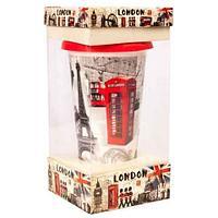 Кружка-латте керамическая с силиконовой крышкой (London)