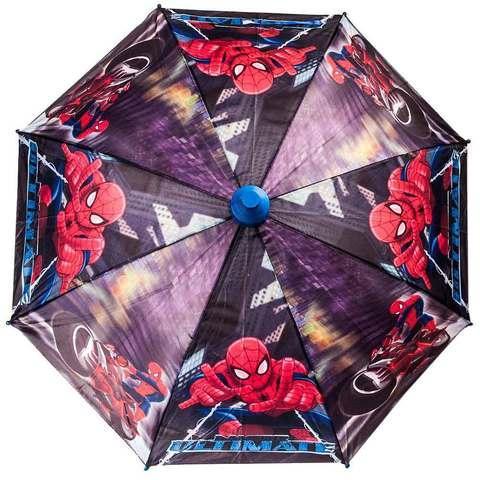 Зонт-трость детский со свистком в футляре в виде складного стаканчика (Spider Man)