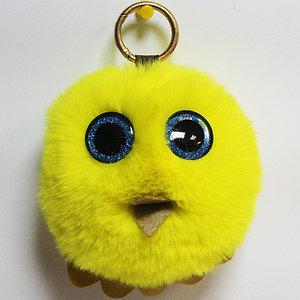 Брелок из натурального меха «Совёнок» (Желтый)