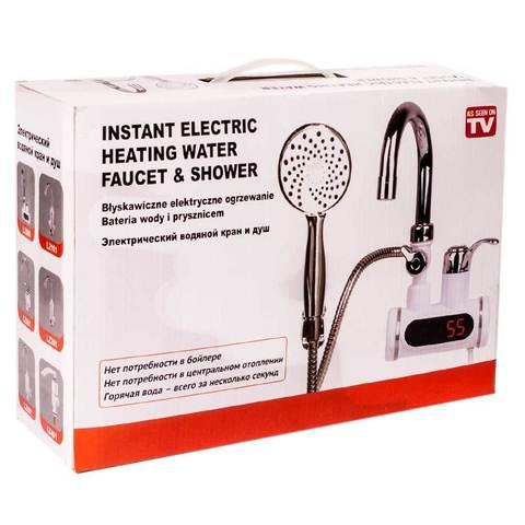 Мгновенный проточный водонагреватель-смеситель цифровой с душевой лейкой LZ008