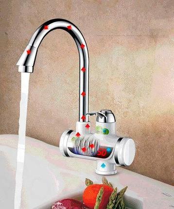 Мгновенный проточный водонагреватель-смеситель цифровой с душевой лейкой LZ008, фото 2