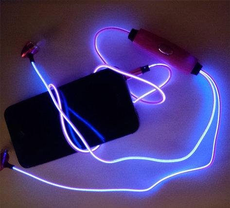 Наушники светящиеся вакуумные металлические Glowing Earphone (Пурпурный), фото 2