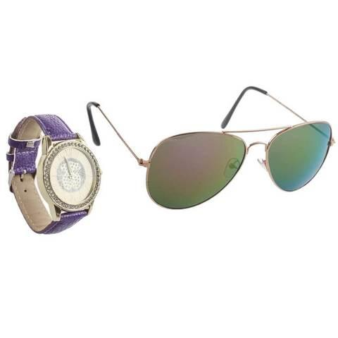 Подарочный комплект женский «Очки+часы» Jesou [16382] (Фиолетовый)