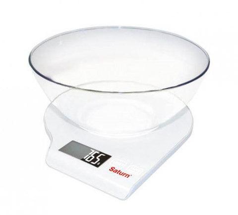 Весы кухонные с чашей Saturn ST-KS7803 (Белый)